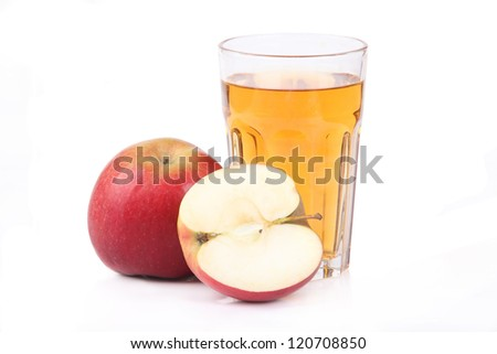 Fresh apple juice -  isolated on white - stock photo