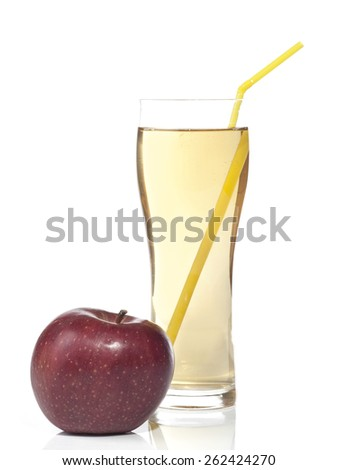 Fresh apple juice with whole apple fruit and isolated on white background. - stock photo