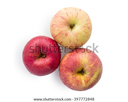 fresh apple on white background with clipping path - stock photo