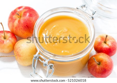 fresh apple sauce, top view