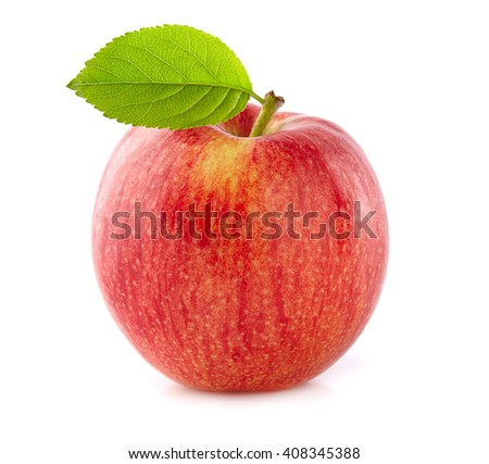 Fresh apple with leaf - stock photo