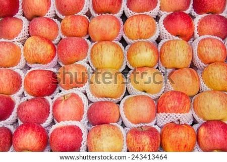 Fresh apples fruit background. - stock photo