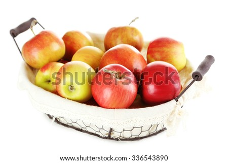 Fresh apples in basket isolated on a white - stock photo