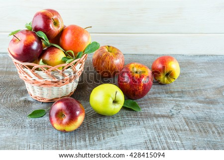 Fresh apples in the basket. Fresh fruits. Fresh apples. Vegetarian food. Healthy eating concept. Healthy food. Healthy eating. - stock photo
