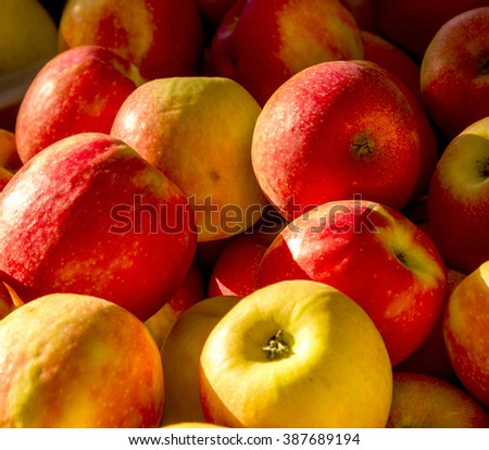 fresh apples offered at the market in Aix-en-Provence, France - stock photo