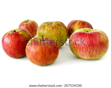 fresh apples on white - stock photo