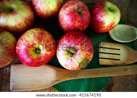 Fresh apples red Delicious on the table  - stock photo