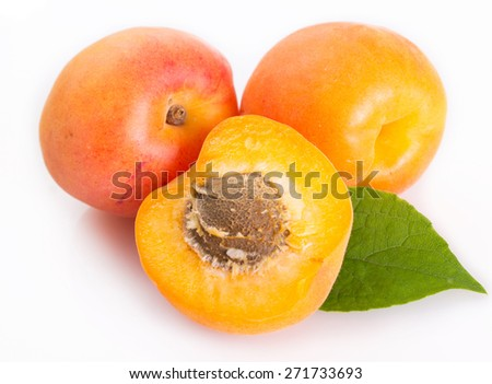 fresh apricot isolated on white background