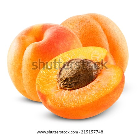 Fresh apricot on white background. Clipping Path - stock photo