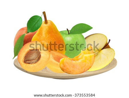 fresh apricot, peach, apple and pear on wooden plate isolated on white background - stock photo