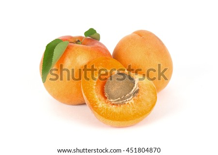 Fresh apricots isolated on white background