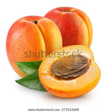 Fresh apricots with leaves   - stock photo