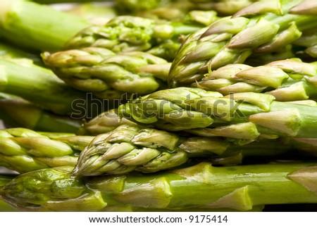 fresh asparagus  on a cutting board healthy - stock photo