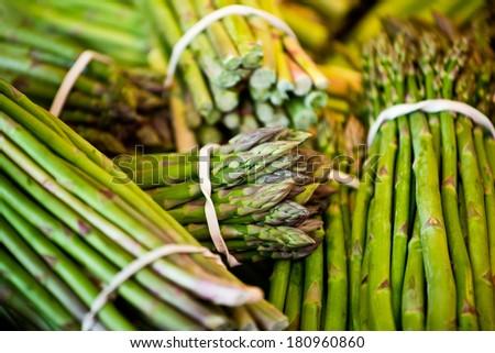 Fresh asparagus on the market - stock photo