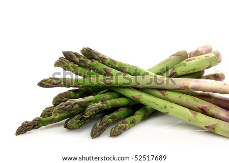 fresh asparagus shoots on a white background