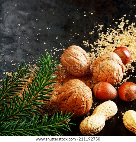 Fresh assorted whole nuts for a festive Xmas with almonds, hazelnuts and peanuts in their shells on brown caramelized sugar with pine foliage on a dark background with copyspace for your greeting - stock photo