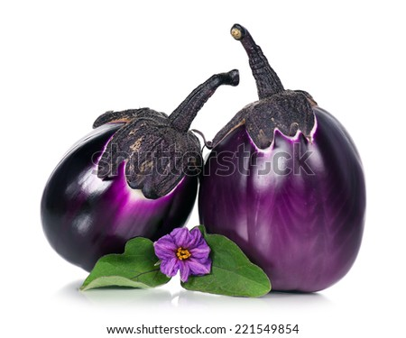 Fresh aubergine with blossom and leaves. Focus on a blossom - stock photo