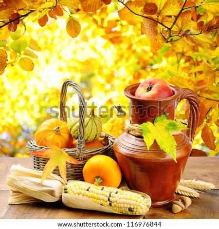 Fresh autumn vegetables on golden forest background - stock photo