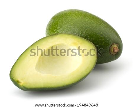 Fresh avocado fruit isolated on white background - stock photo