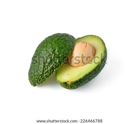 fresh avocado isolated on white background - stock photo
