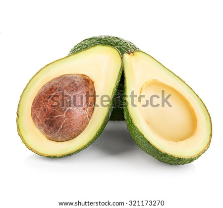 Fresh avocado isolated on white background.
