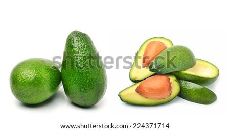 Fresh avocado isolated on white background. Collage - stock photo