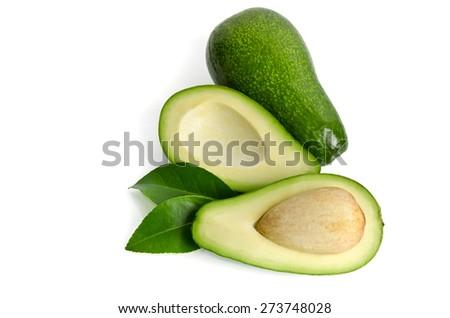 fresh avocado isolated on white background.Top view - stock photo