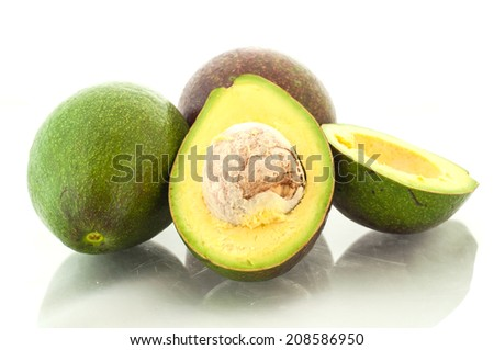 Fresh avocado isolation on white