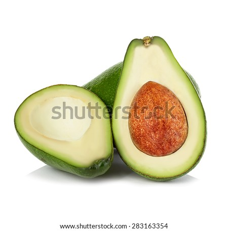 Fresh avocados isolated on white - stock photo