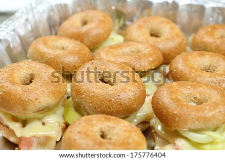 Fresh bagel sandwich - stock photo