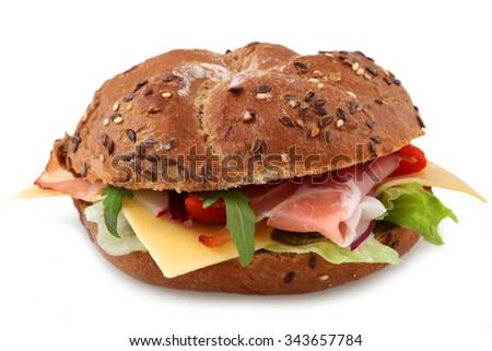 Fresh bagel sandwich isolated over white background - stock photo