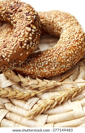 fresh bagel with sesame seed