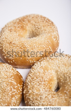 fresh bagels on the white table
