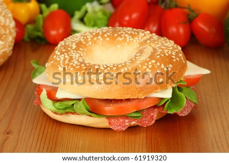 Fresh bagle sandwich with salami