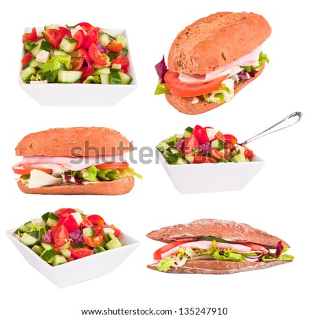 Fresh baguette and salad collection  isolated on white background - stock photo