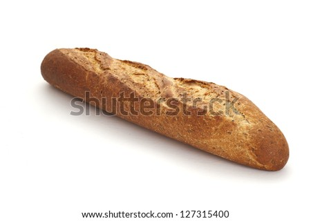 fresh baguette over white background - stock photo