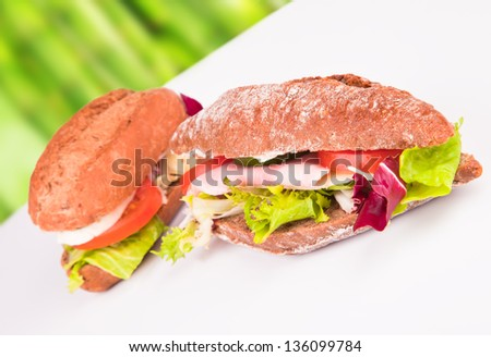 Fresh baguette with abstract background - stock photo