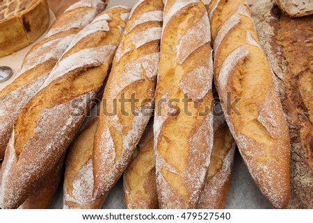 Fresh baguettes in a local street market