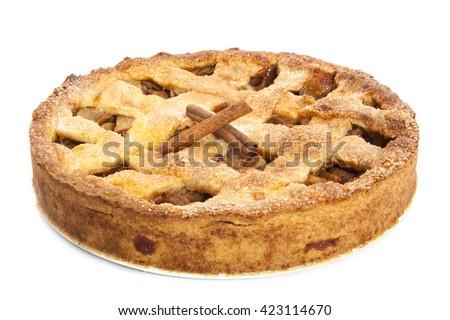 Fresh baked apple pie isolated over white - stock photo