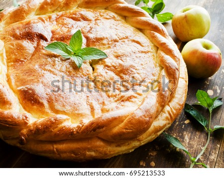 Fresh baked apple pie with cinnamon and mint. Shallow dof.