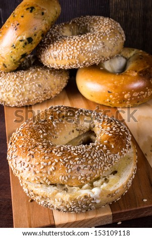 Fresh baked bagels from the bakery. - stock photo