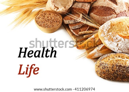 Fresh baked bread isolated on white. Health and diet concept