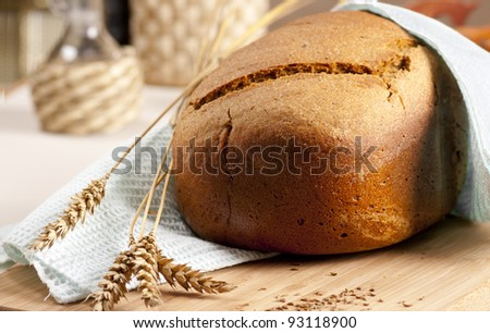 Fresh baked bread  with ears - stock photo