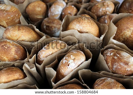 fresh baked breads in market place - stock photo
