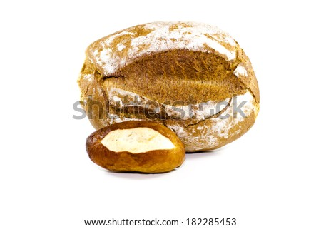 Fresh Baked Brown Bread with Lye Bread Roll