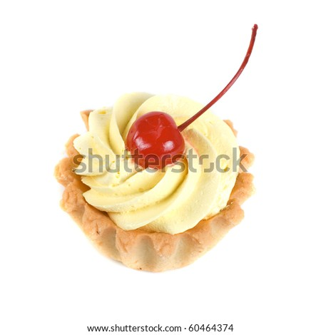 fresh baked cherry cupcake isolated on white and cherry - stock photo
