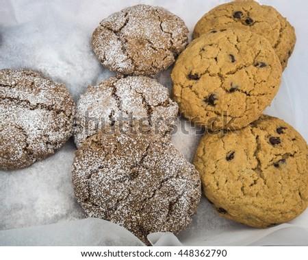Fresh baked cookies at farm market. - stock photo