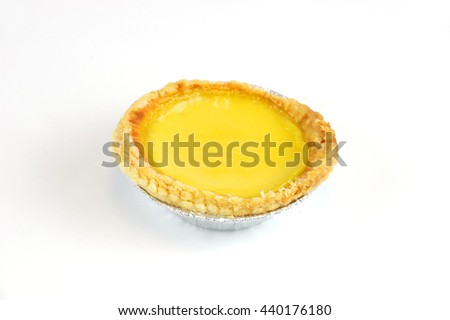 fresh baked egg tart isolated on white background