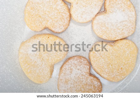 fresh baked heart shaped shortbread valentine day cookies - stock photo