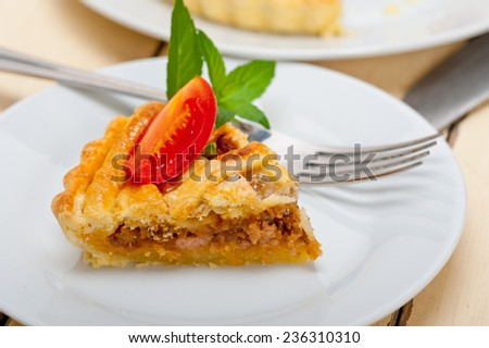 fresh baked home made beef pie macro closeup - stock photo